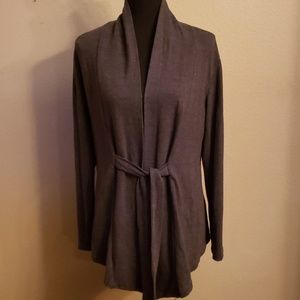 Sweaters - Dark grey tunic length tie front cardigan